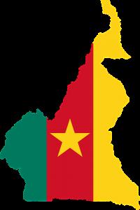 Die Landesflagge und -karte von Kamerun.